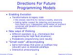 directions for future programming models
