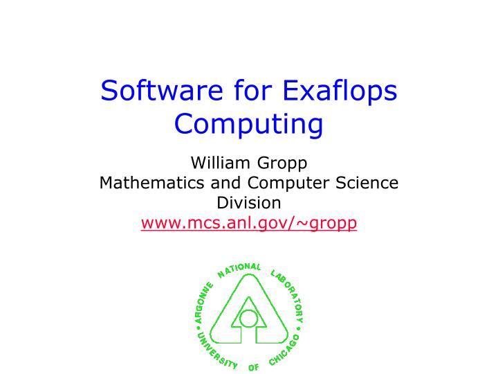 software for exaflops computing n.