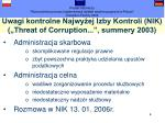 uwagi kontrolne najwy ej izby kontroli nik threat of corruption summery 2003