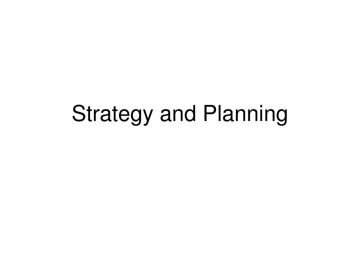 strategy and planning n.