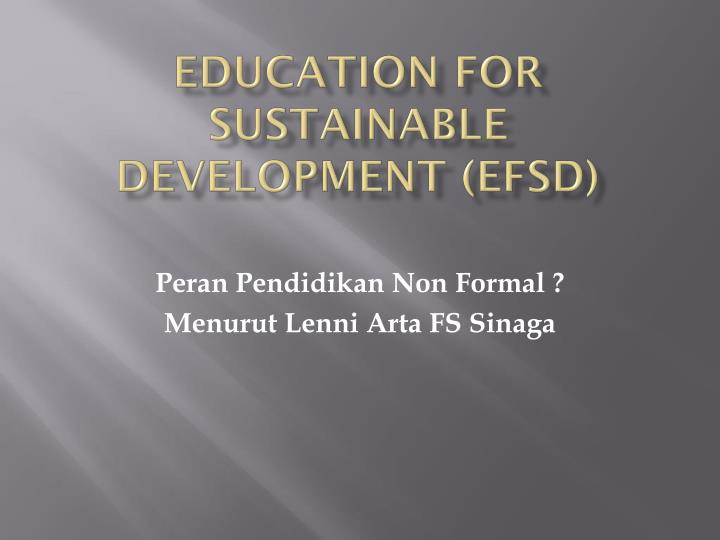 Education for sustainable development efsd