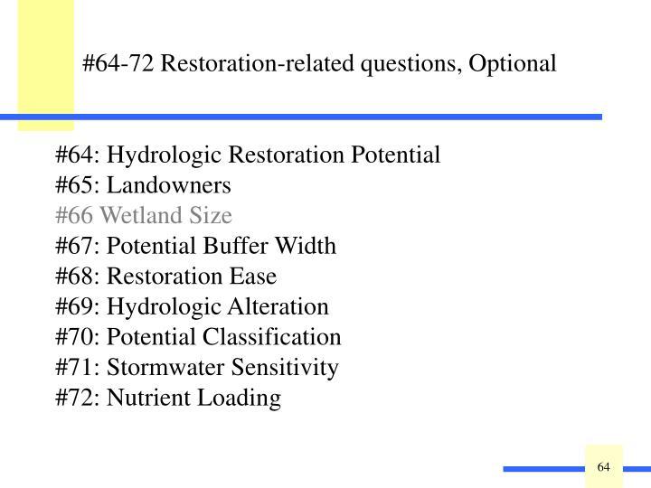 #64: Hydrologic Restoration Potential