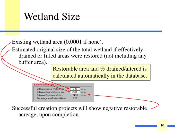Existing wetland area (0.0001 if none).