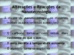 altera es e reac es da nanotecnologia