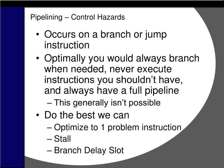 Pipelining – Control Hazards