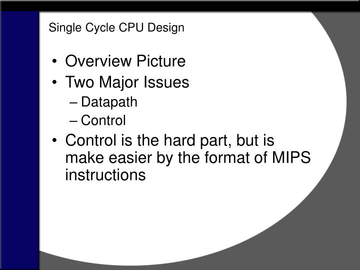 Single Cycle CPU Design