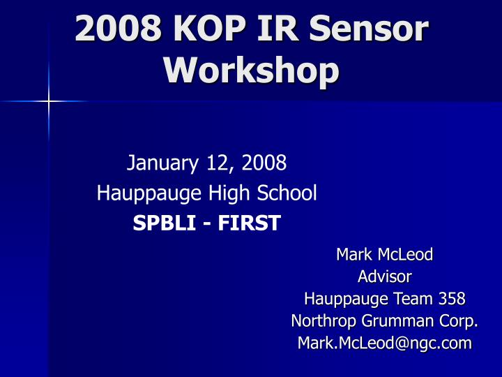 2008 kop ir sensor workshop n.