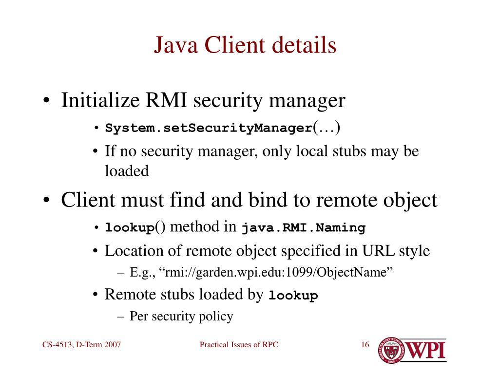 Java Client details