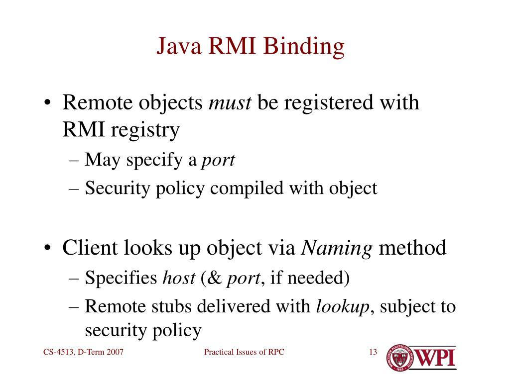 Java RMI Binding