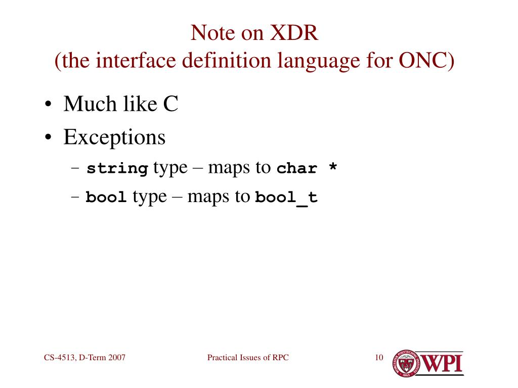 Note on XDR