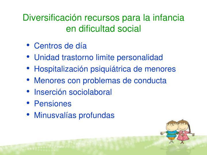 Diversificación recursos para la infancia en dificultad social