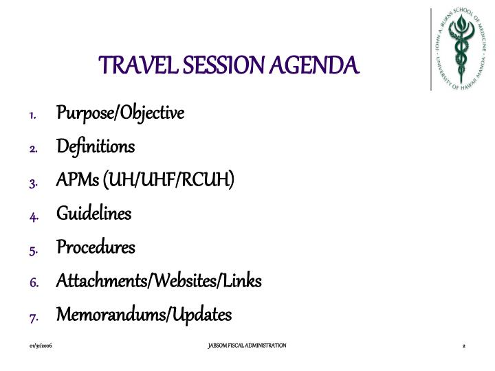 Travel session agenda