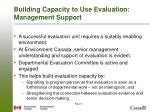 building capacity to use evaluation management support
