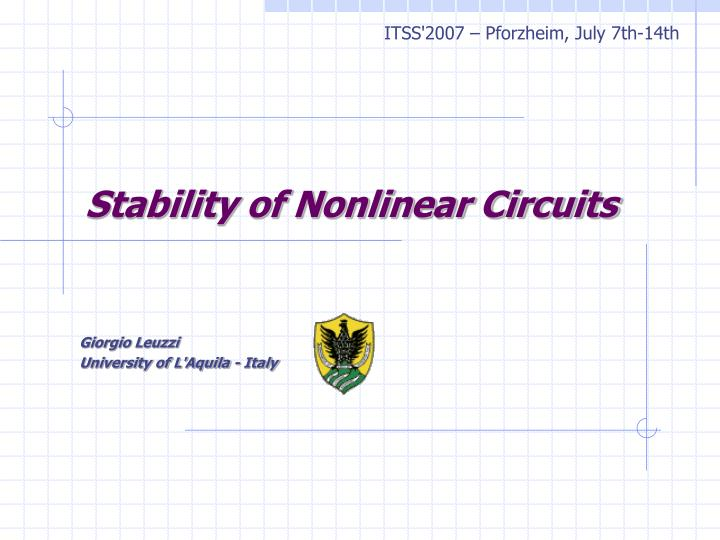 stability of nonlinear circuits n.