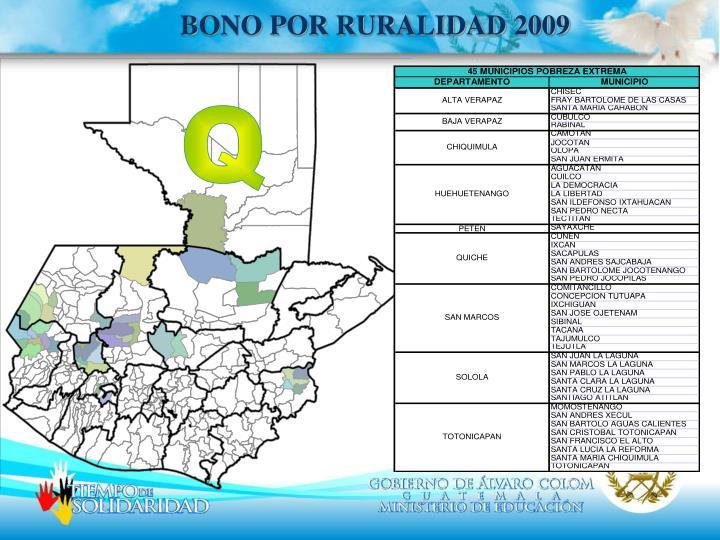 BONO POR RURALIDAD 2009