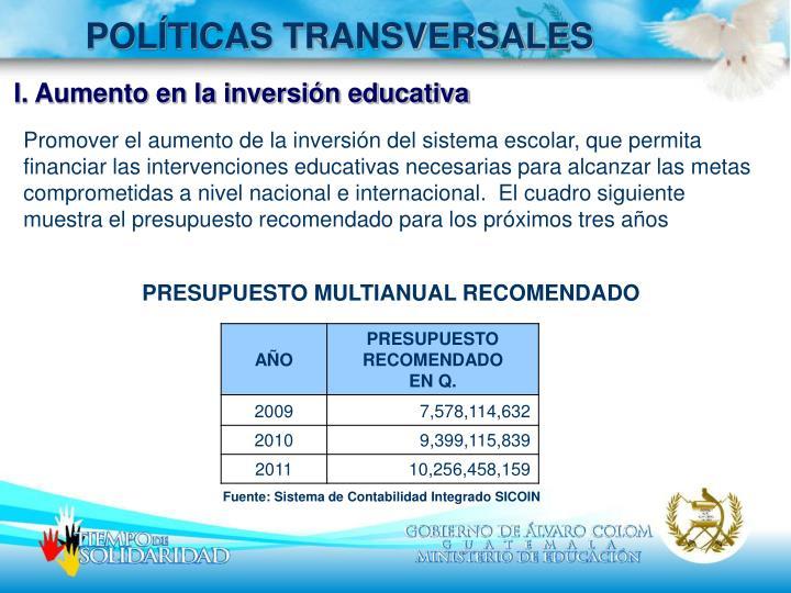 POLÍTICAS TRANSVERSALES