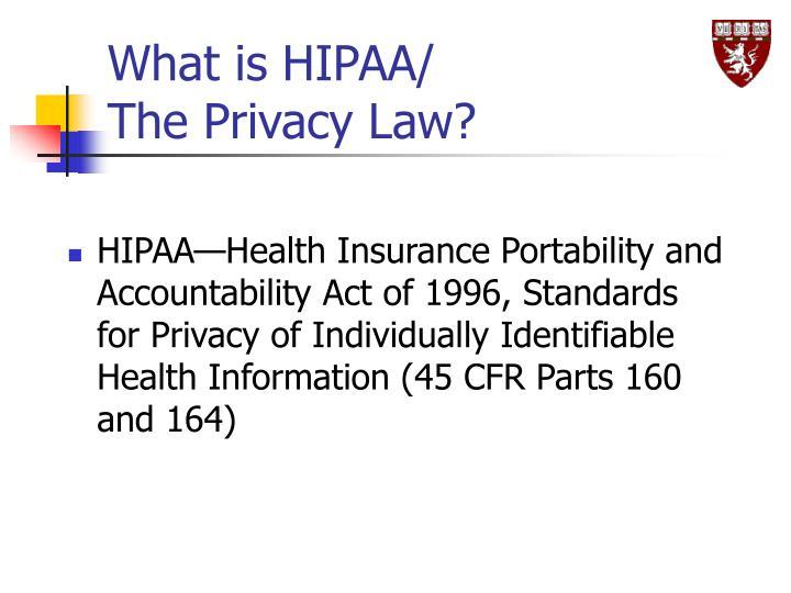 What is HIPAA/