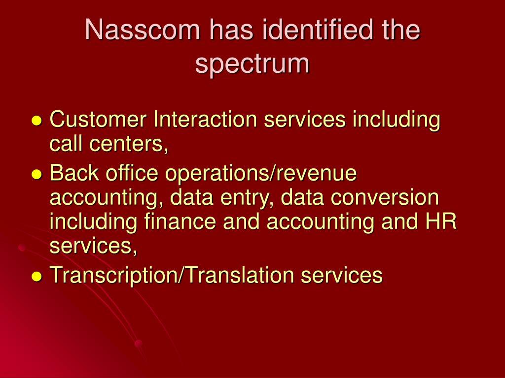 Nasscom has identified the spectrum
