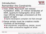 introduction remember the constraints