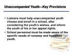 unaccompanied youth key provisions