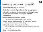 monitoring the system syslog ng