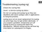 troubleshooting syslog ng