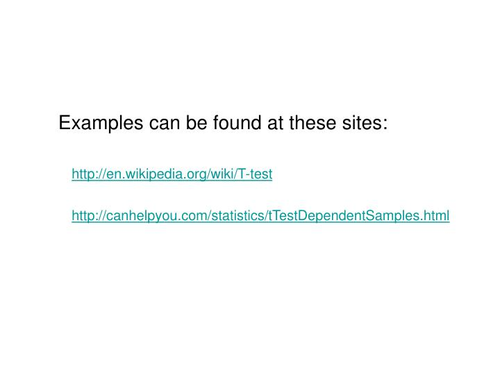 Examples can be found at these sites: