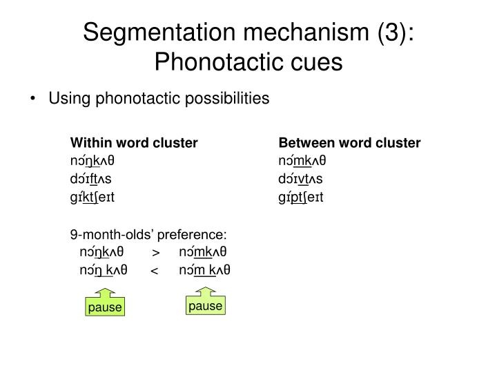 Segmentation mechanism (3): Phonotactic cues