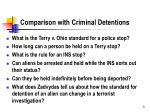 comparison with criminal detentions