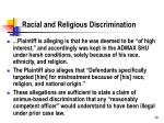 racial and religious discrimination