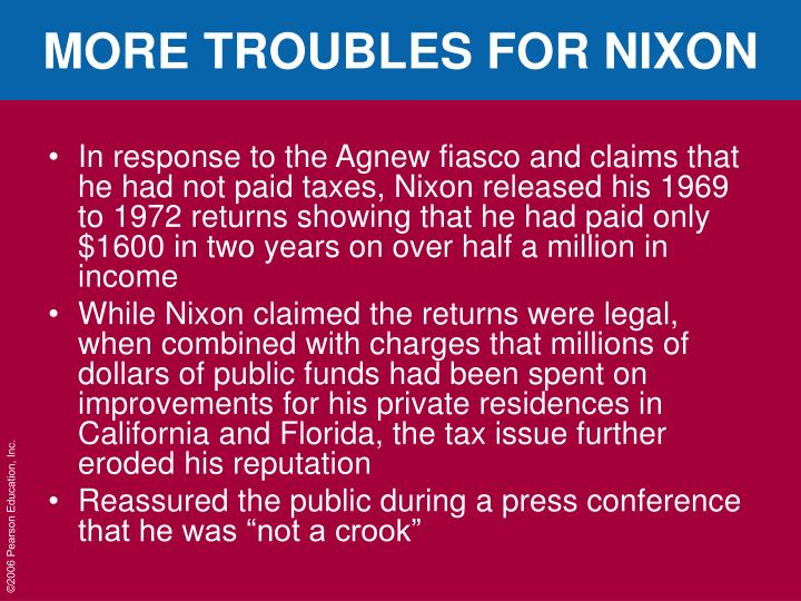 MORE TROUBLES FOR NIXON