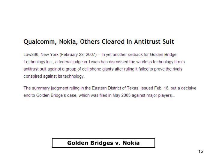 Golden Bridges v. Nokia