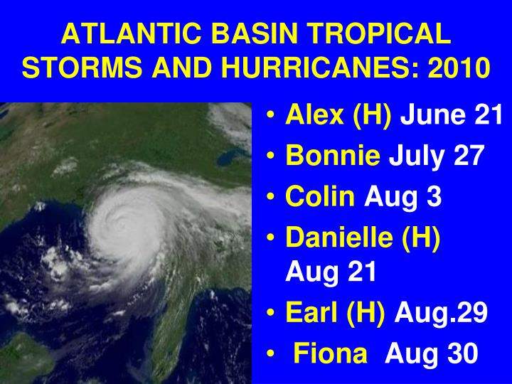 ATLANTIC BASIN TROPICAL STORMS AND HURRICANES: 2010