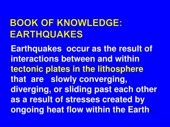 BOOK OF KNOWLEDGE: EARTHQUAKES