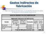 gastos indirectos de fabricaci n
