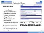 application menus