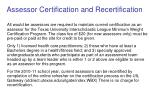 assessor certification and recertification