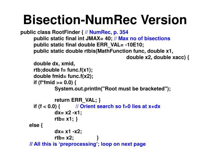 Bisection-NumRec Version