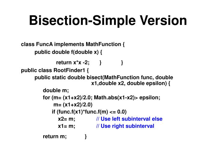 Bisection-Simple Version