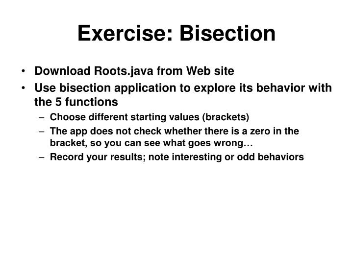 Exercise: Bisection