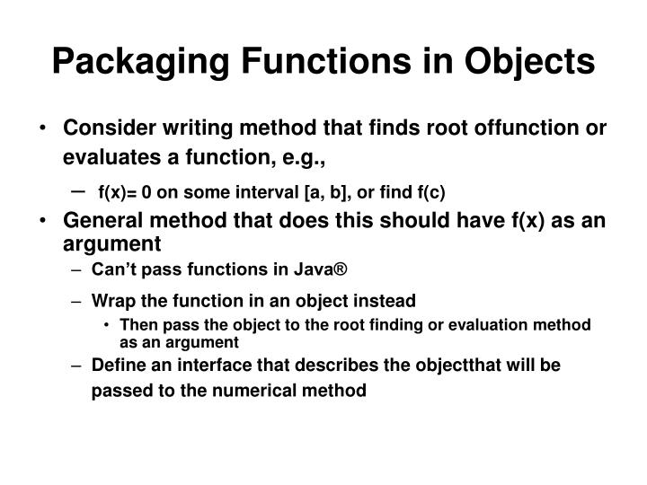 Packaging Functions in Objects
