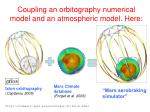 coupling an orbitography numerical model and an atmospheric model here