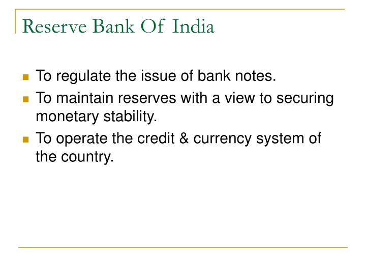 reserve bank of india n.