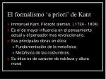 el formalismo a priori de kant