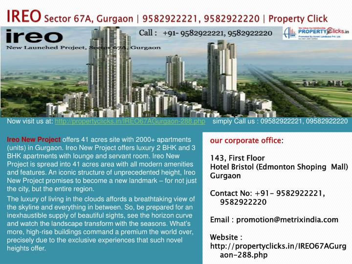 Ireo sector 67a gurgaon 9582922221 9582922220 property click