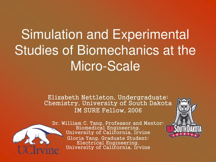 simulation and experimental studies of biomechanics at the micro scale n.