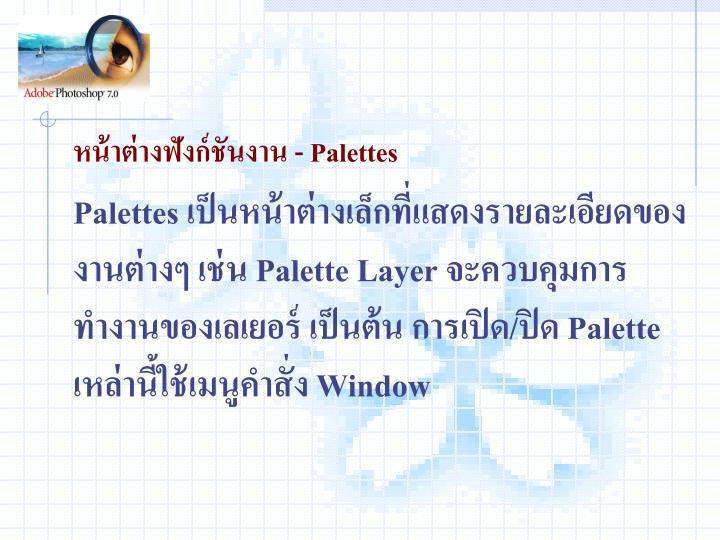 หน้าต่างฟังก์ชันงาน - Palettes