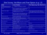 site survey the moon and free space e g l2