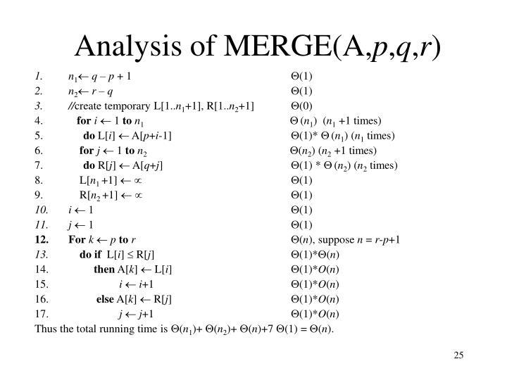 Analysis of MERGE(A,
