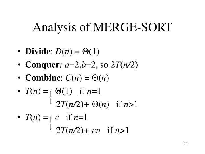Analysis of MERGE-SORT